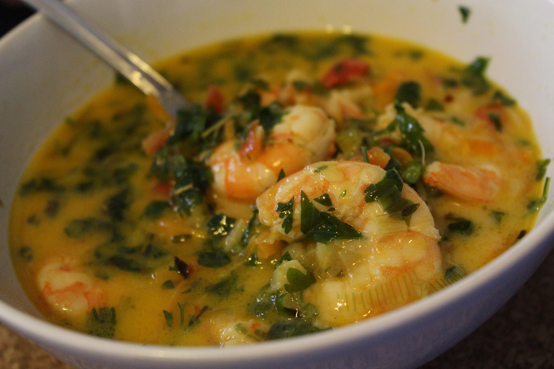 Supa de creveti cu lapte de cocos (Coco shrimp soup)